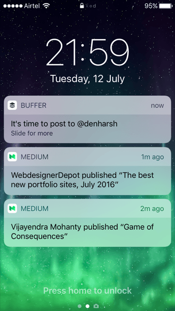 Push notification buffer