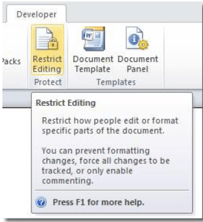 Restrict Editing