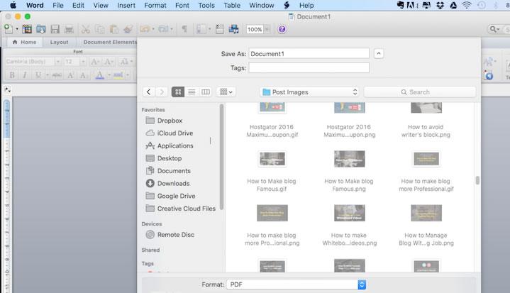 Select PDF or XPS