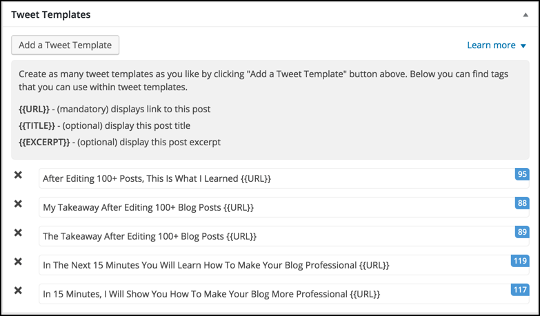 Tweet templates WordPress