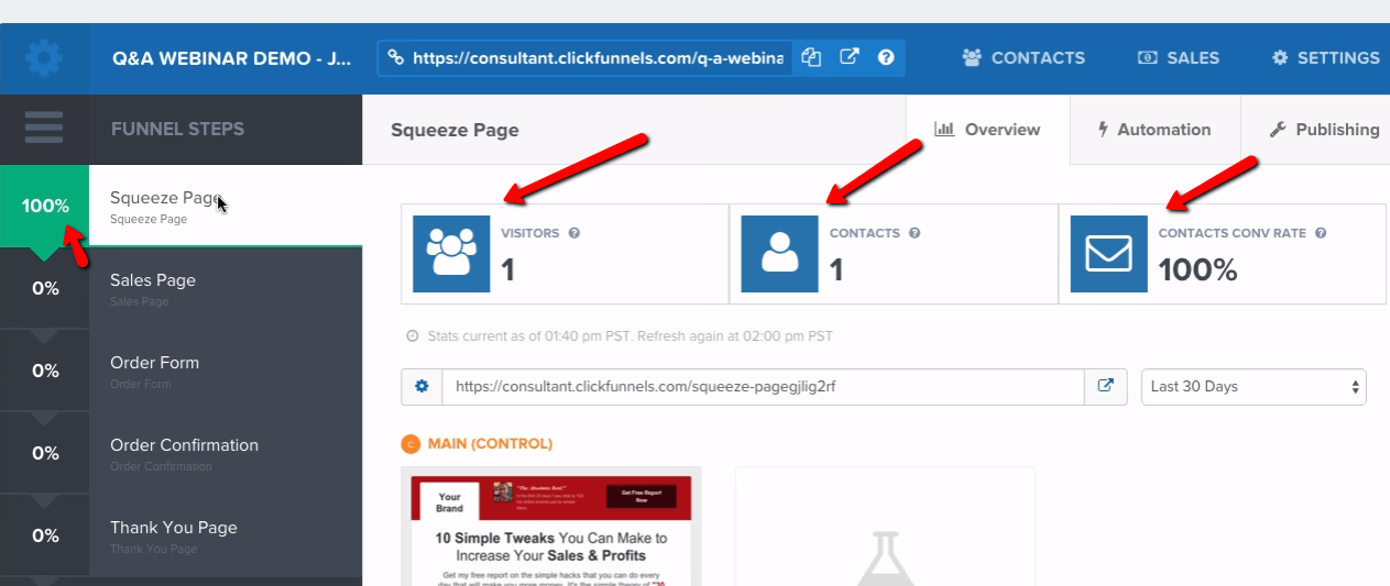 Clickfunnels - Analyzing your funnel