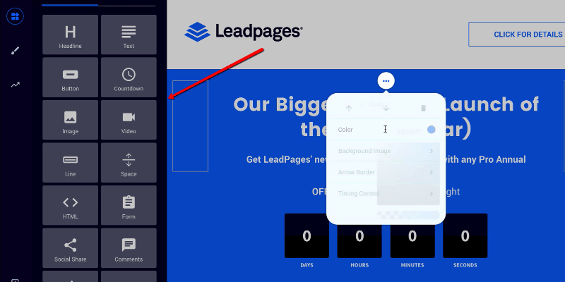 lead-pages-basic builder interface