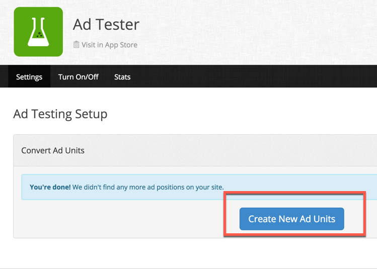 Ad testing setup
