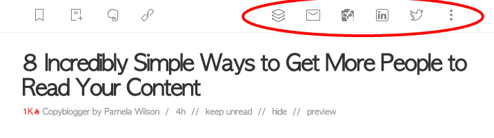 Feedly share options