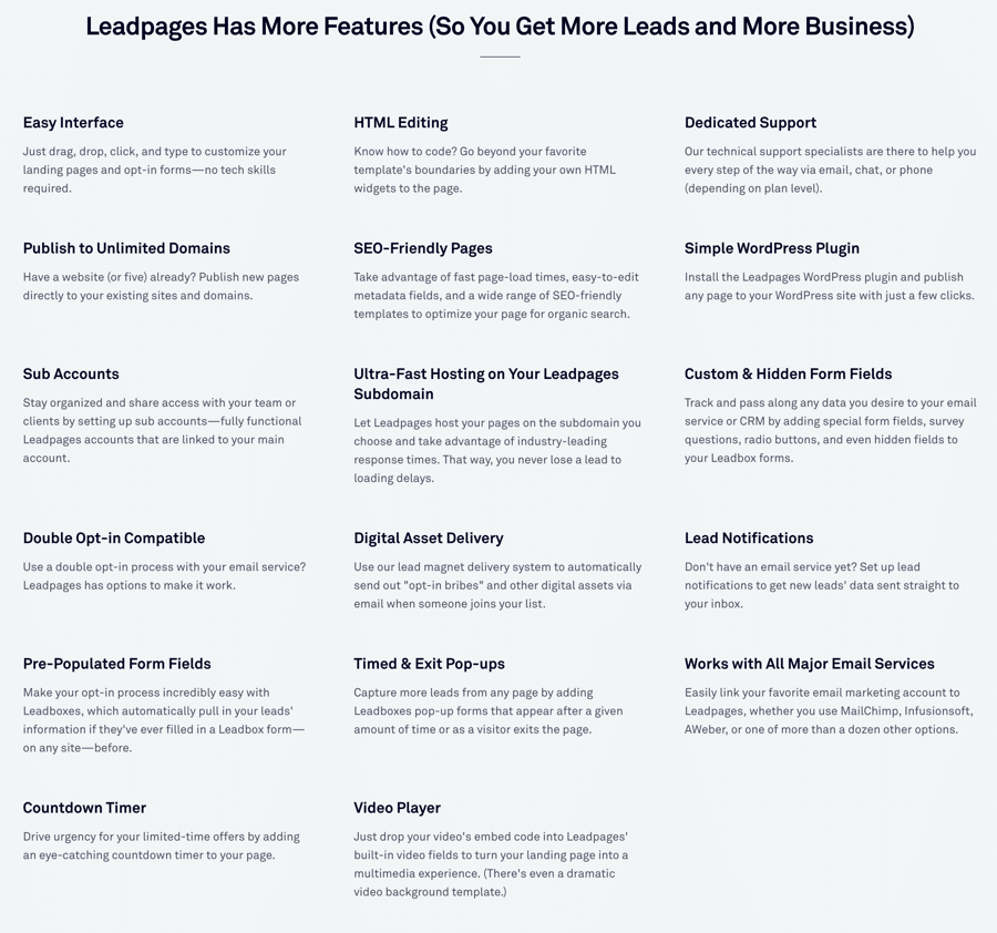 leadpages-complete-features-list