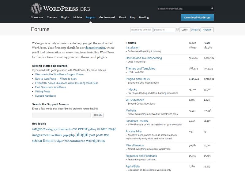 Wordpress Support Forum