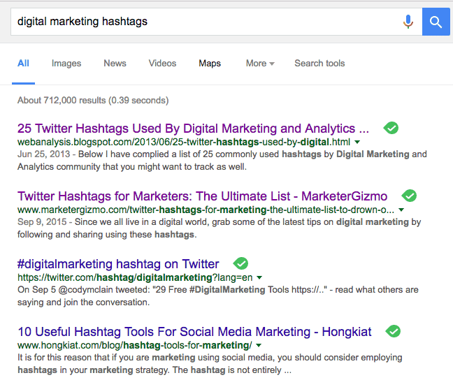 hashtag search string