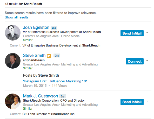LinkedIn company search
