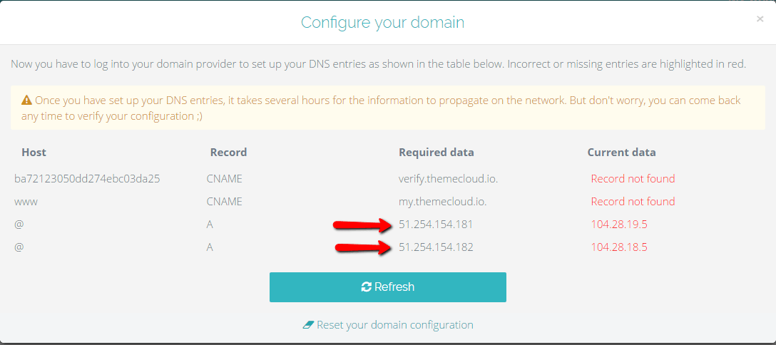 Configure domain - Themecloud