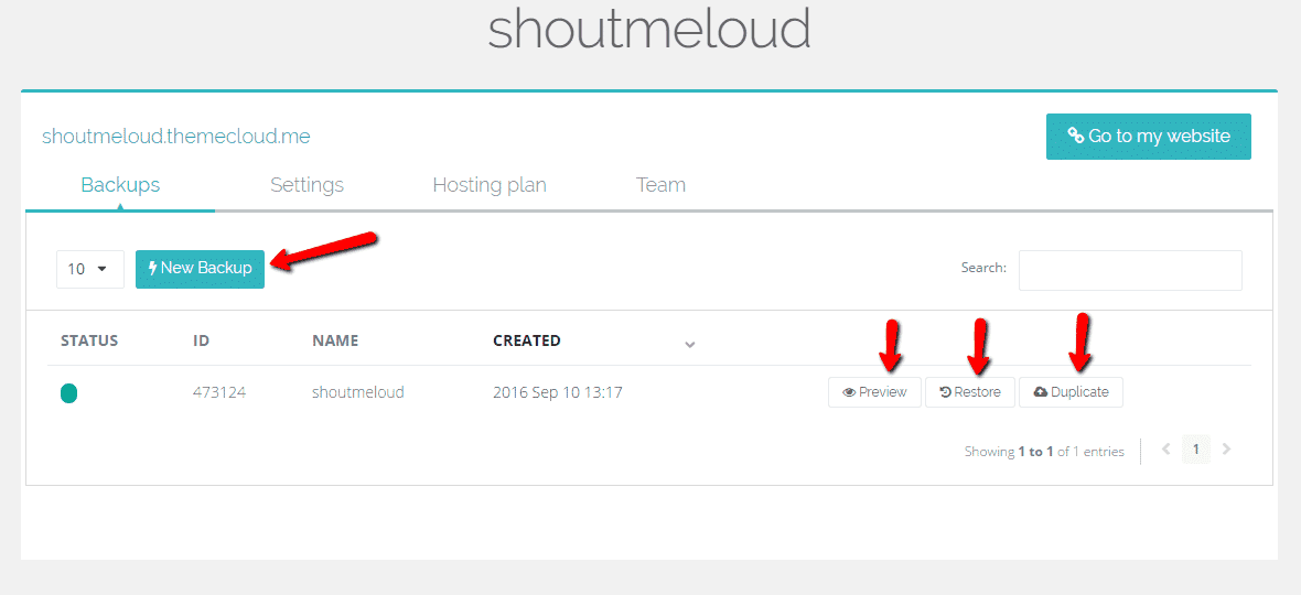 Themecloud manually create a backup