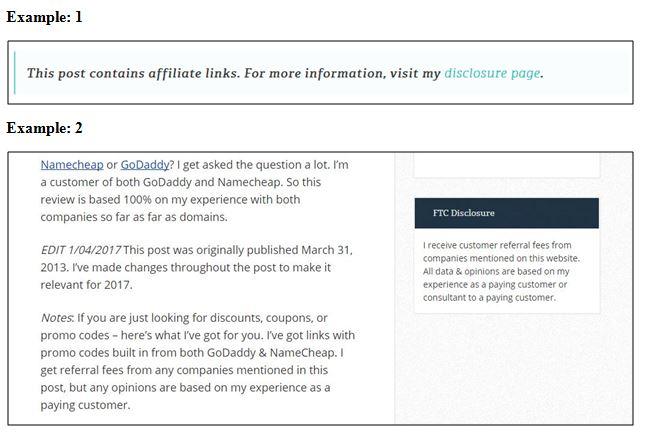 Examples of Affiliate Disclosure Statements