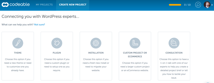 Codeable - Create a new project