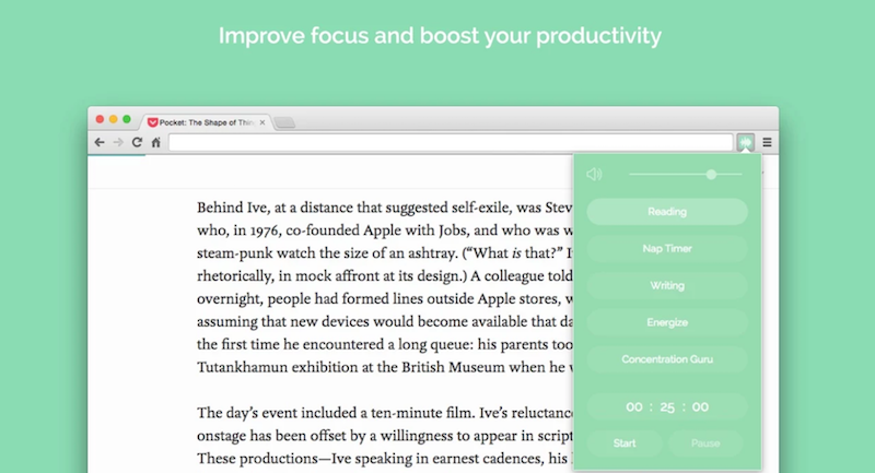 Noisli is a great productivity extension intended to create a perfect working environment.