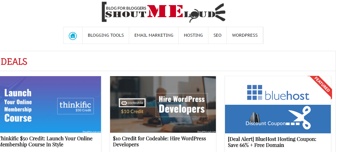 ShoutMeLouds Deals Section