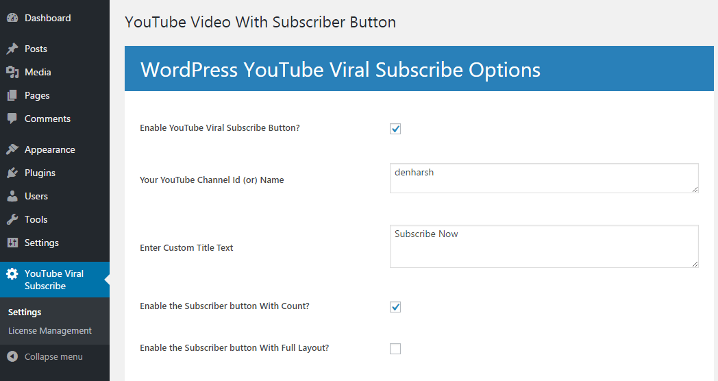 YouTube Viral Subscribe Options