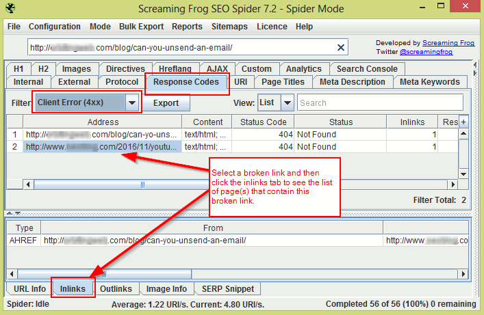 Screamingfrog links checker