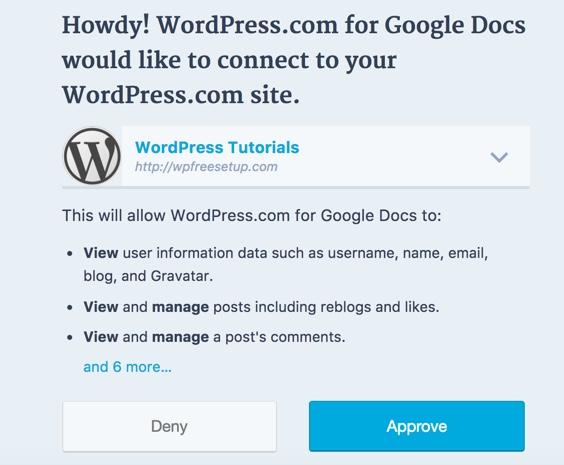 Hướng dẫn đầy đủ để nhập bài viết từ Google Docs sang WordPress Approve-Google-docs-access-to-WordPress