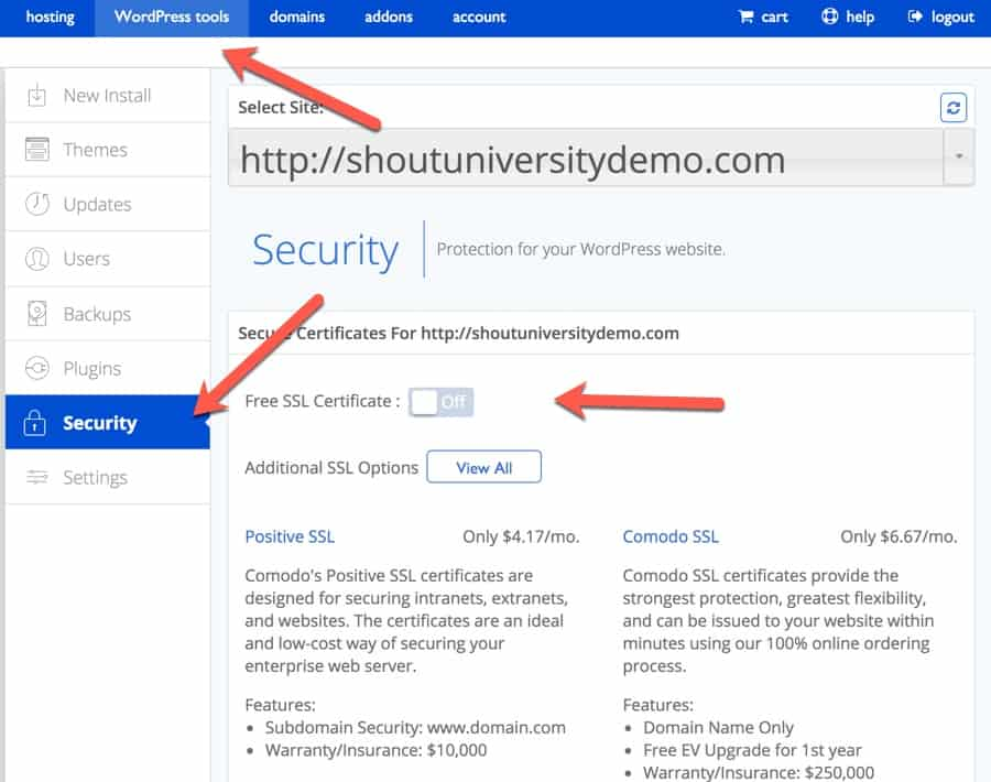 How To Use A Free Ssl Certificate With Bluehost Hosting Cloud Web