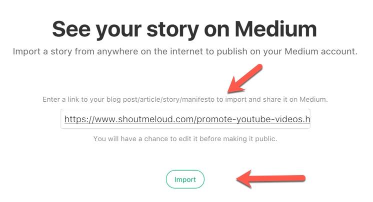 Medium import tool