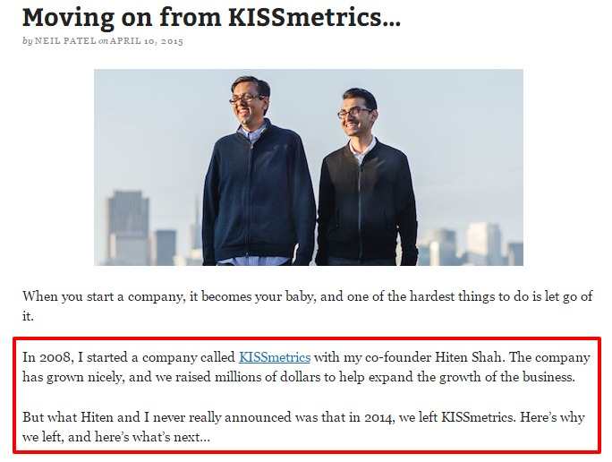 Moving on from KISSmetrics…