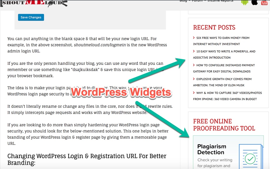 Some of the popular widgets include displaying post categories, latest comments and newest posts, social media share/like buttons, and autoresponder opt-in forms.