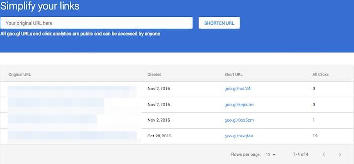 Google URL Shortener page