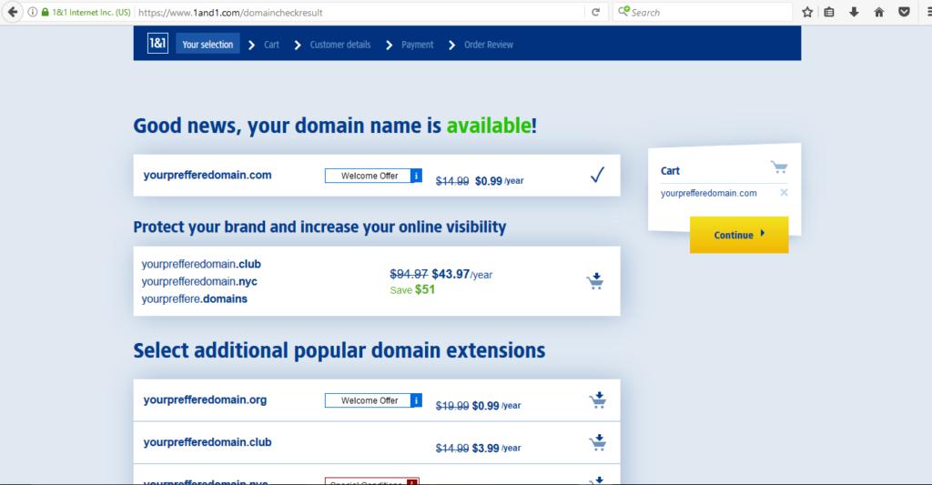 1&1 Domain name