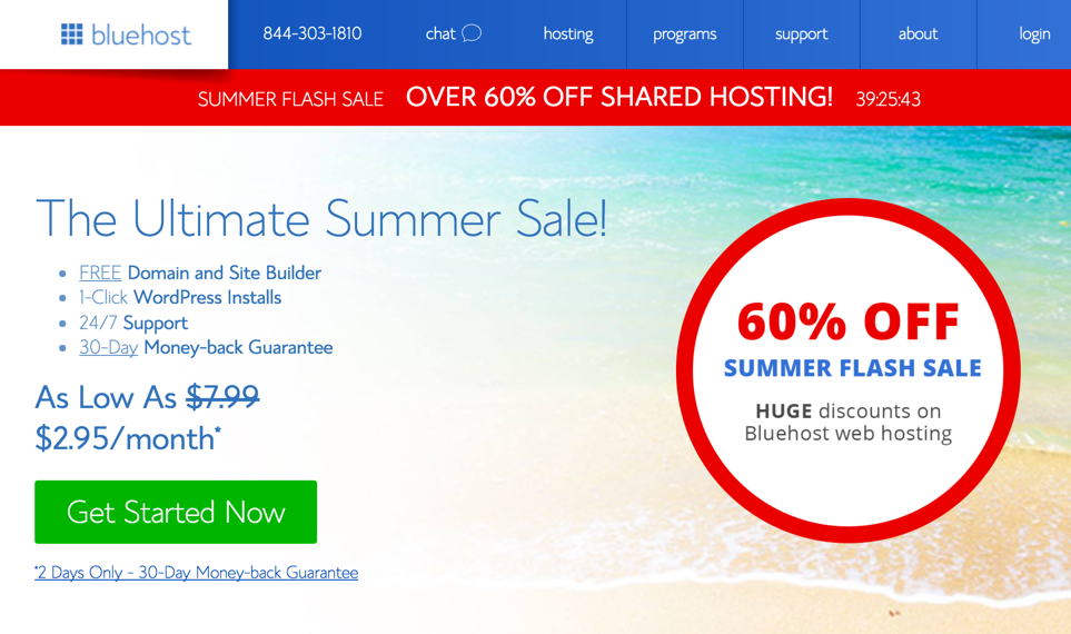 [Launch Your Blog] Summer Sale: 60% off on Shared Hosting from Bluehost