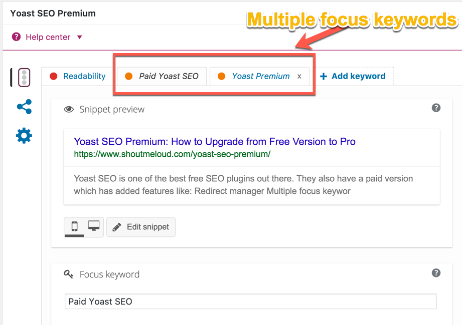 Multiple Focus Keywords