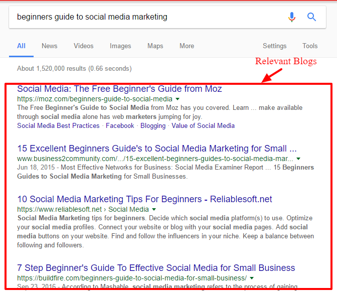Search for relevant blogs in your niche