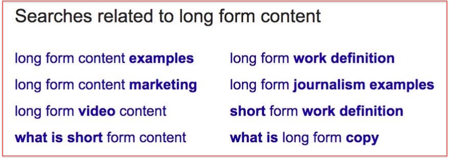 Searches related to long form content