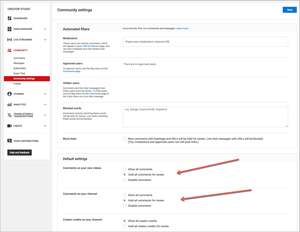 Image result for youtube Basic community Settings