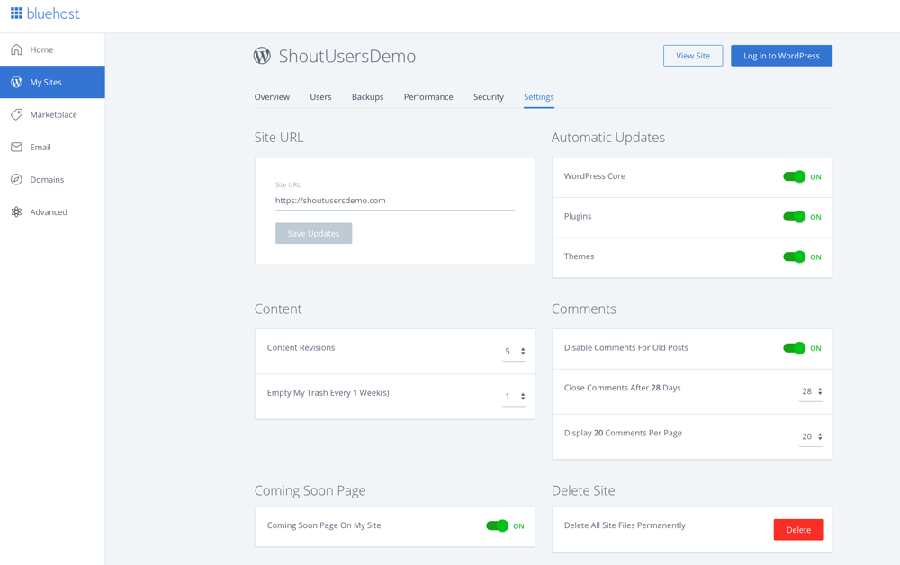 Bluehost WordPress management dashboard