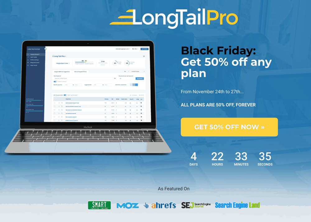 Black Friday Deal: 50% off On LongTailPro Keyword Research Tool