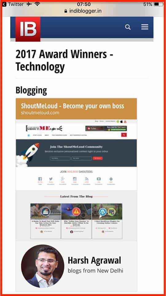 Best Blog Award in Blogging Category