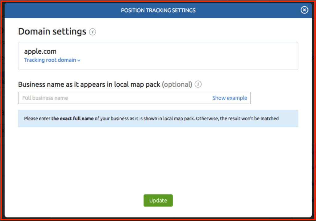 SEMRush Position Tracking Settings