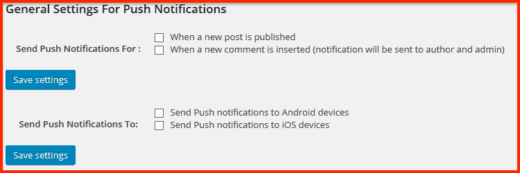 All push notification for WP