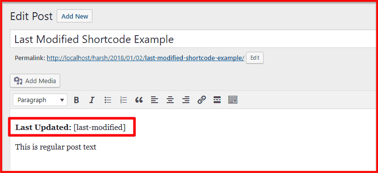 Last modified shortcode example