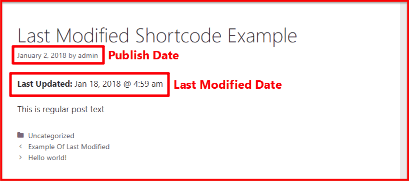 Last modified shortcode example on frontend