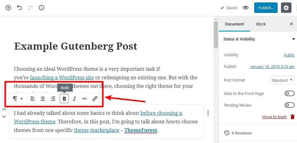 formatting text with gutenberg