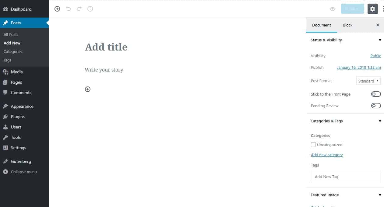 the wordpress gutenberg editor interface