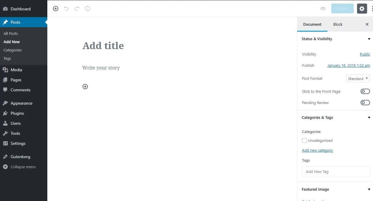 the wordpress gutenberg editor interface