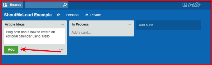 Trello - Add a card