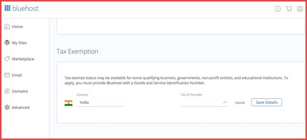 Add-GST-number-to-Bluehost