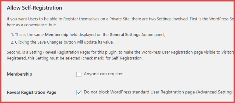 allow self registration in wordpress