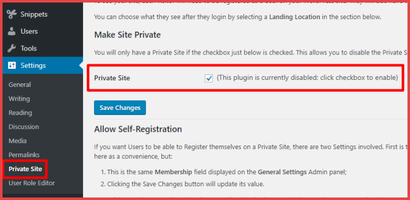 make a wordpress site private