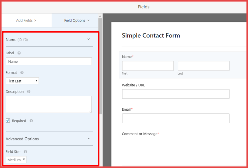 configure the forms