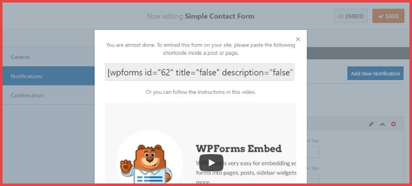 WPForms shortcode