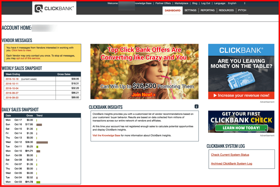 Clickbank-dashboard