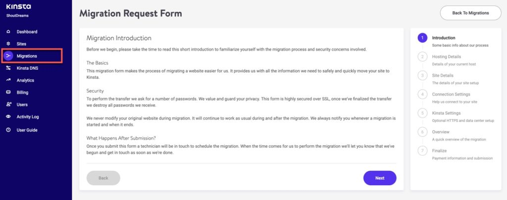 Kinsta Migration Request Form